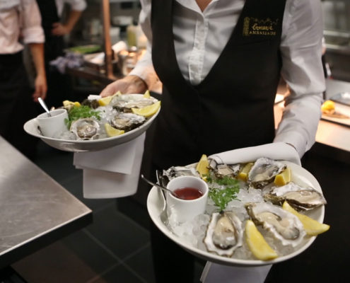 Serving Zeeuwse Creuses Oysters at Brasserie Ambassade