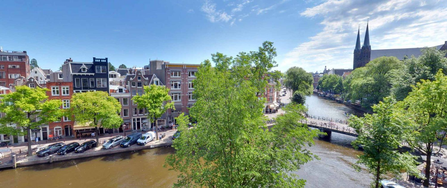 View over Singel canal in Amsterdam as seen from our Grand Suite