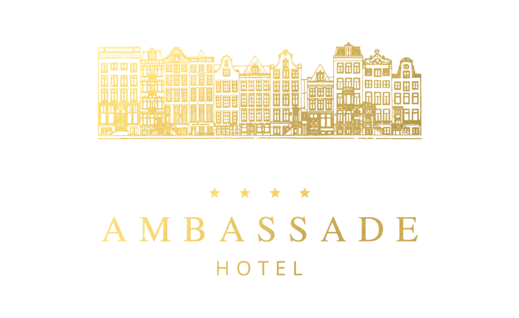 Ambassade Hotel logo with canal houses in gold